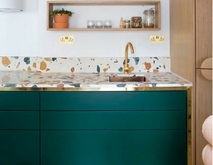 colourful kitchen playful interiors with wooden shelves and acccessories