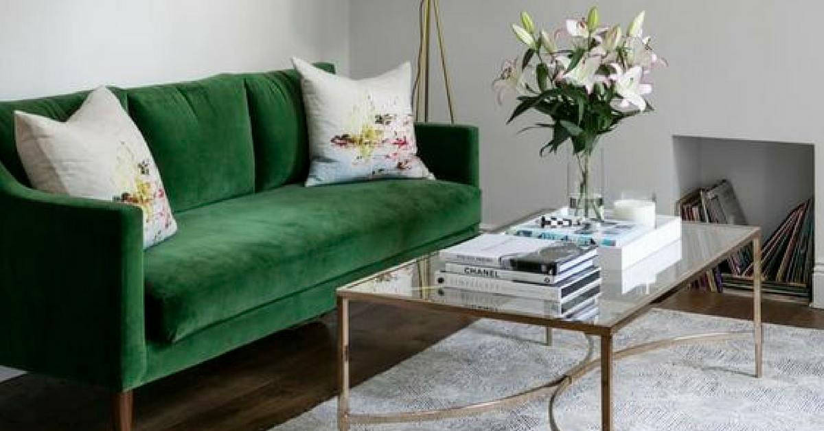 interior design trends green sofa
