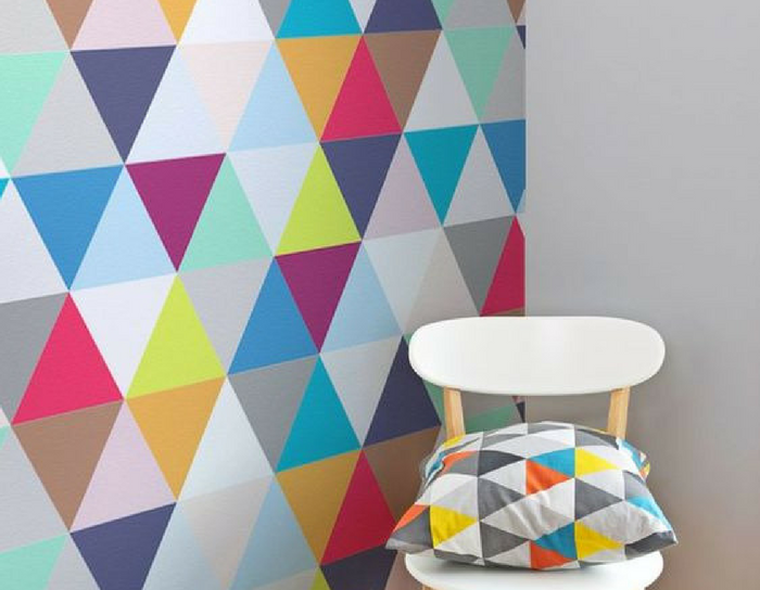 playful interiors multicoloured triangle wallpaper