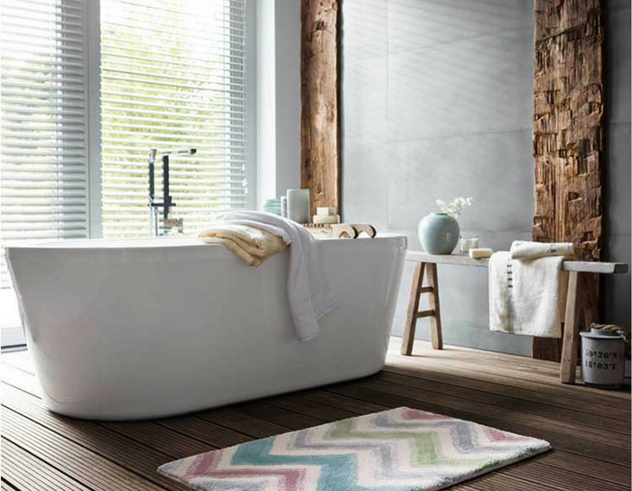 playful interiors chic bathroom with a chevron bath mat