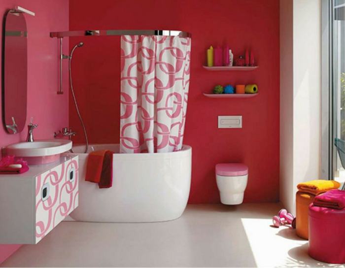 playful interiors hot pink bathroom