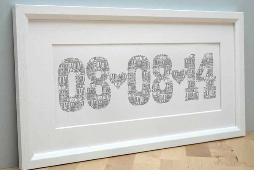 Valentine's Day home decor Personalised Typographic Date Print