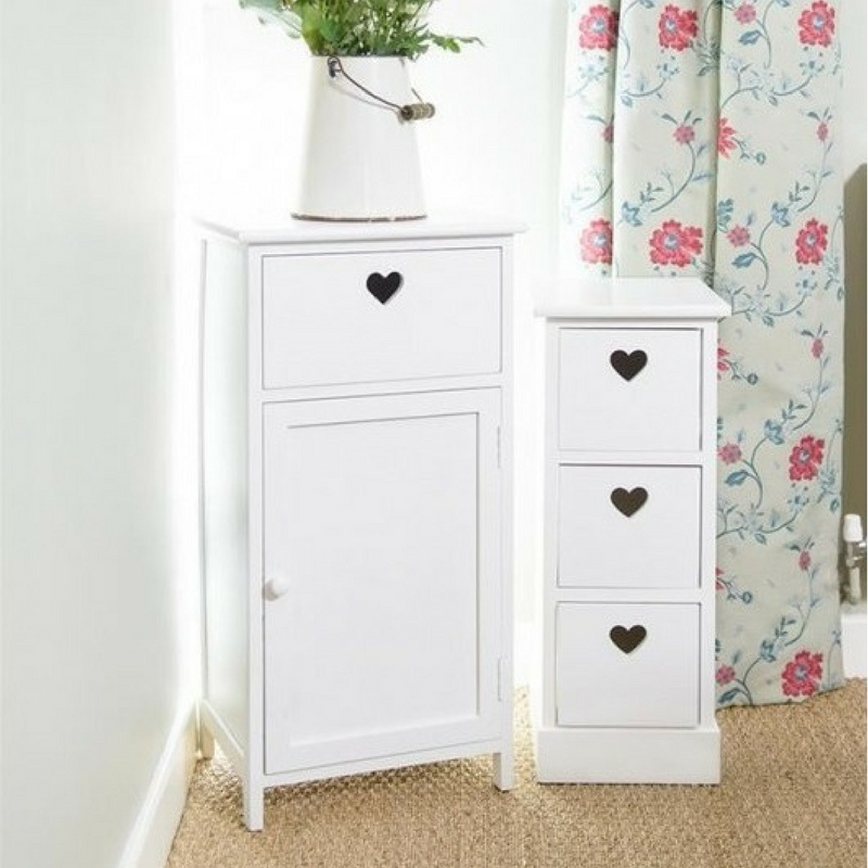 Valentine's day home decor Shabby Chic White Wood Bedside Storage Unit Drawers with Heart Cut Out