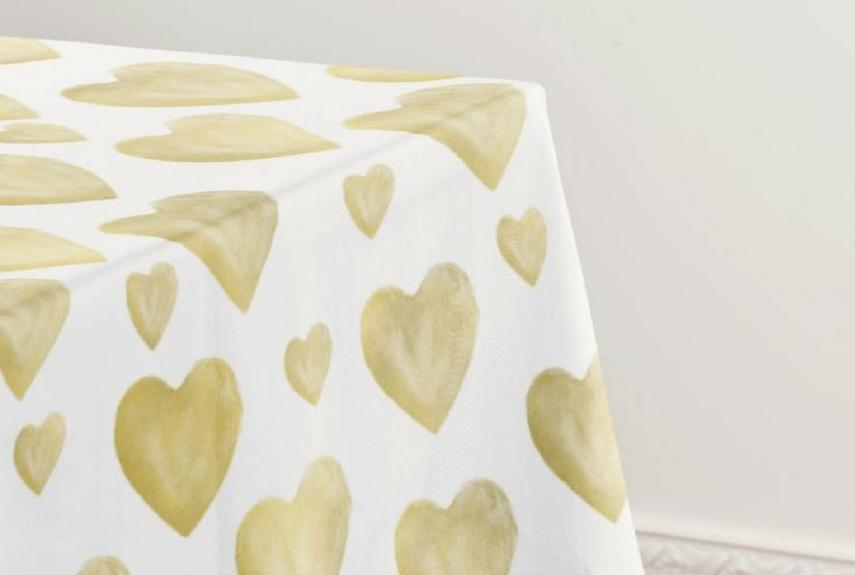 Valentine's day home decor Gold Watercolour Hearts Tablecloth