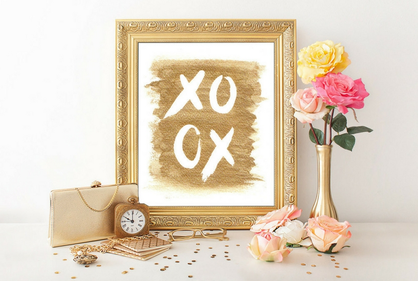 Valentine's day home decor Gold XoXo Hugs and Kisses. Art print