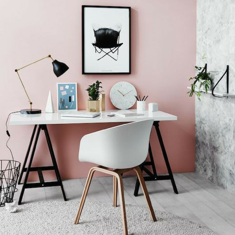 blush pink sophisticated office space