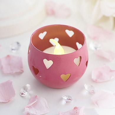 Valentine's day home decor pink Heart Detail Metal Tea Light Candle Holder