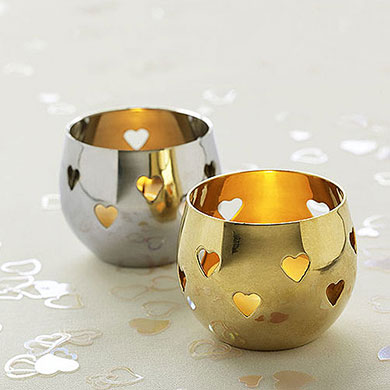 Valentine's day home decor Silver Heart Detail Metal Tea Light Candle Holder
