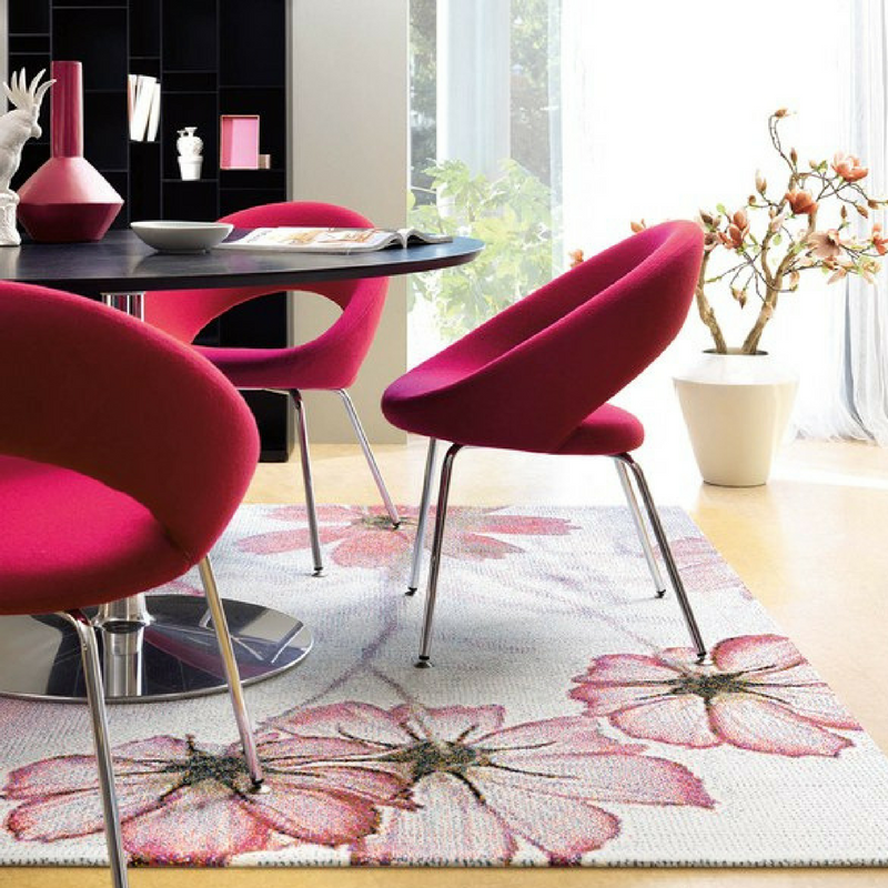 blush pink floral rug in a sophisticated style dining room