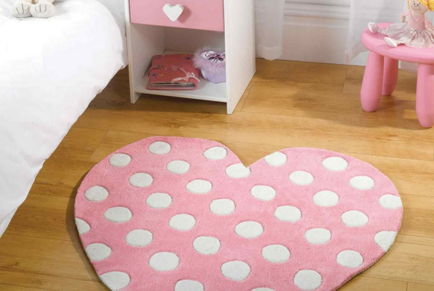 Valentine's day home decor Play Polka Heart Rugs in Pink