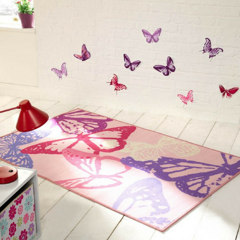 blush pink butterfly rug in a plain style bedroom