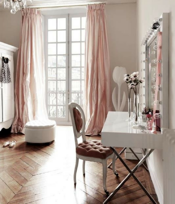 blush pink dressing room with long drapes curtains
