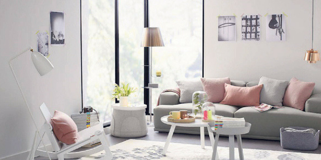 blush pink living room with grey accents