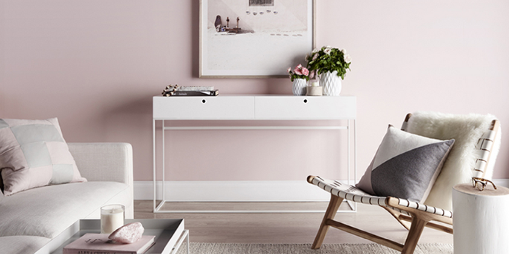 blush pink room with furniture accents