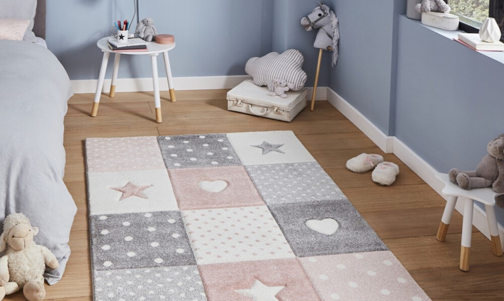 Valentine's day home decor Brooklyn Kids rug with hearts and star print