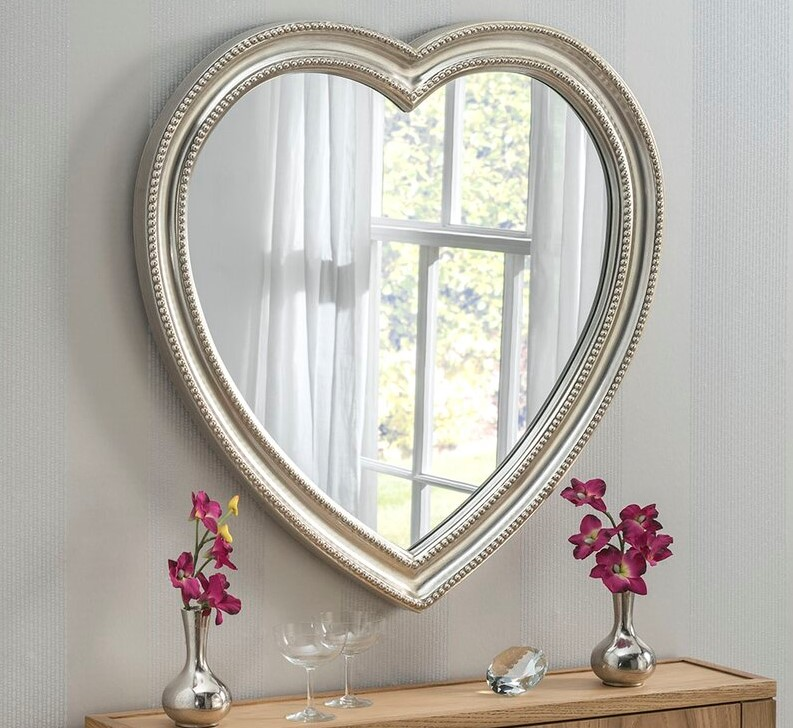Valentine's day home decor Conlin Beaded Heart Accent Mirror
