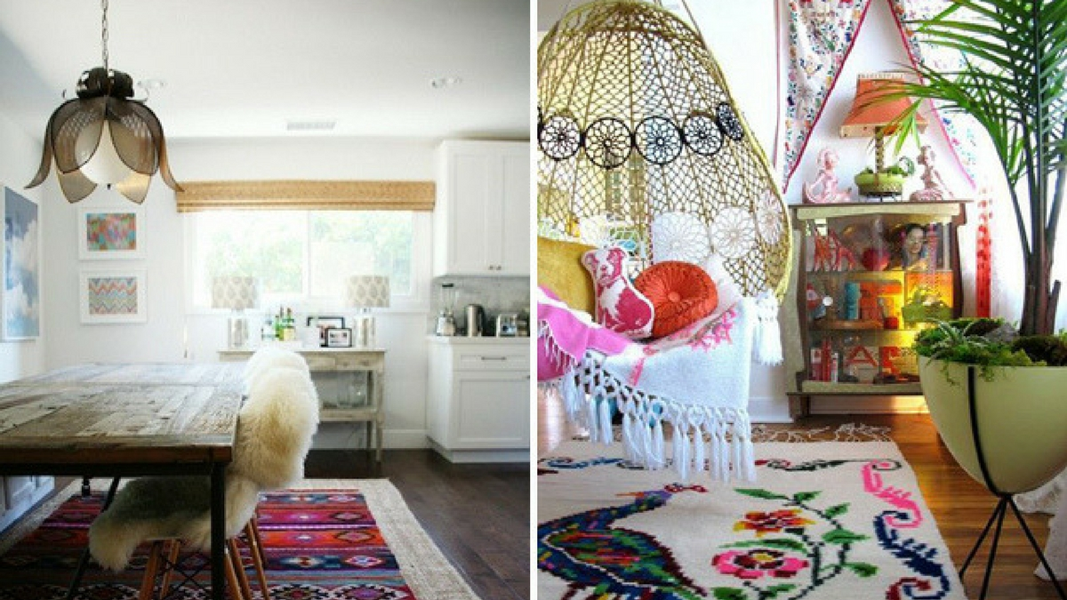 two bohemian interiors with layered rugs