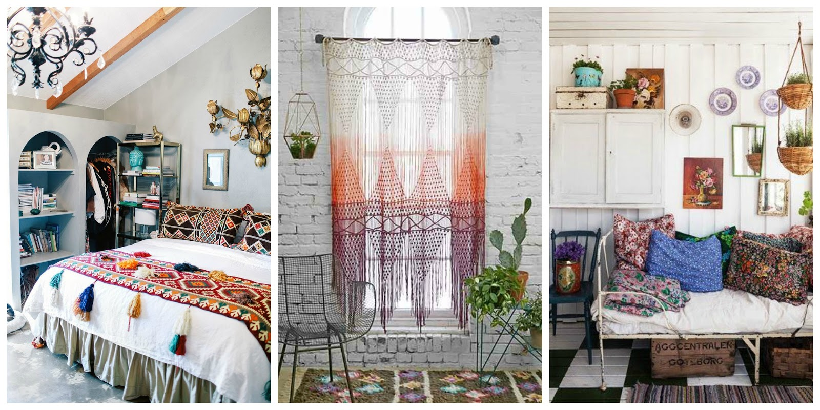 three bohemian interiors of rooms in the home