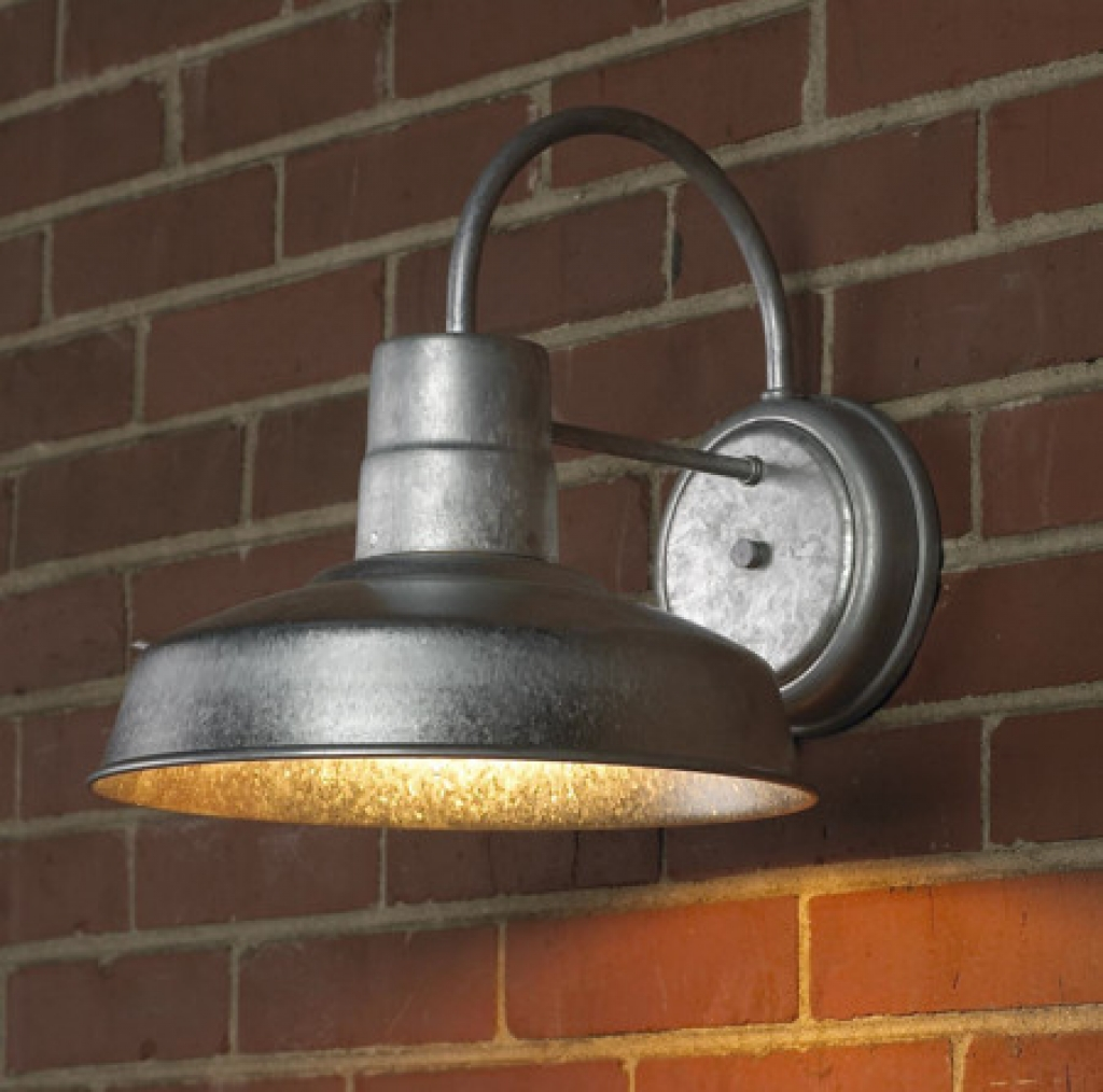 industrial style outdoor lighting on brick wall