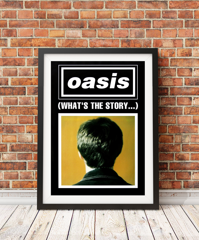 Framed oasis album cover poster leaning against and exposed brick wall