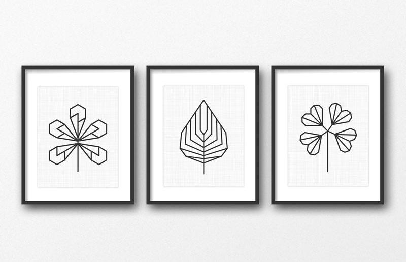 geometric botanical wall art