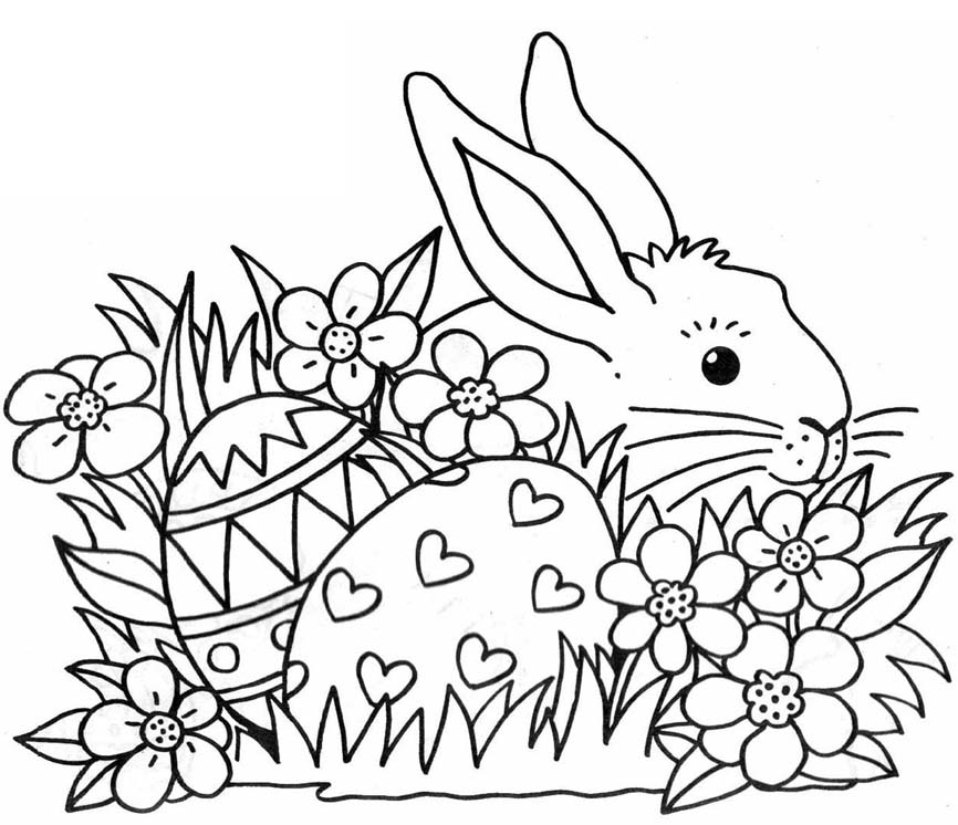 Easter Bunny to colour in for young children