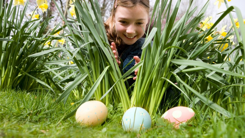easter egg hunt with a girl searching for eggs in the grass
