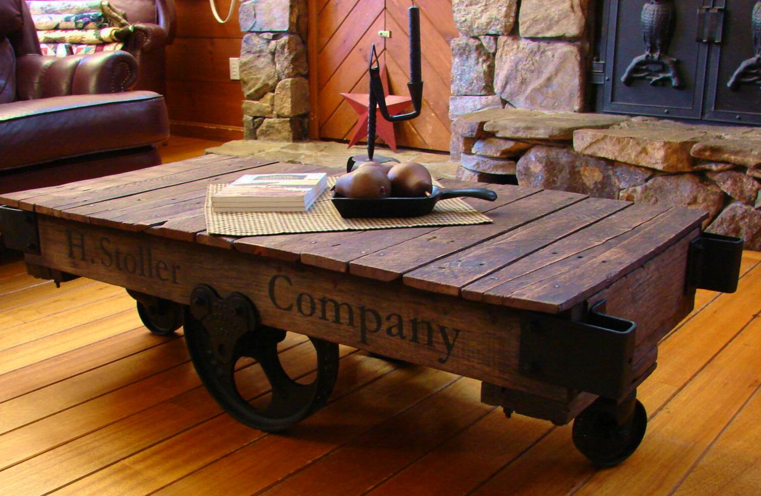 Redesigned table made from old industrial items such as metal cogs