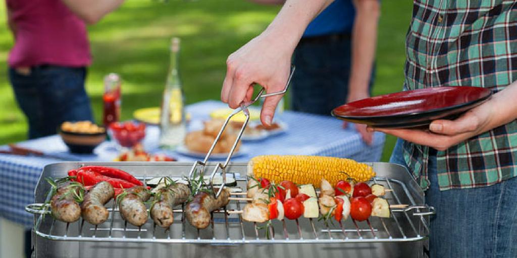 garden party bbq food being prepared