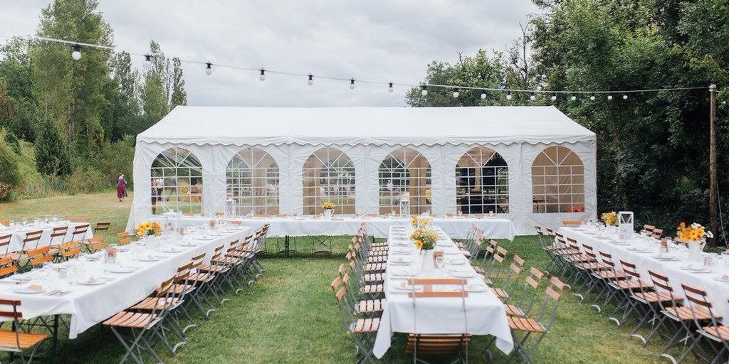 garden party inside a gazebo and outside on the grass