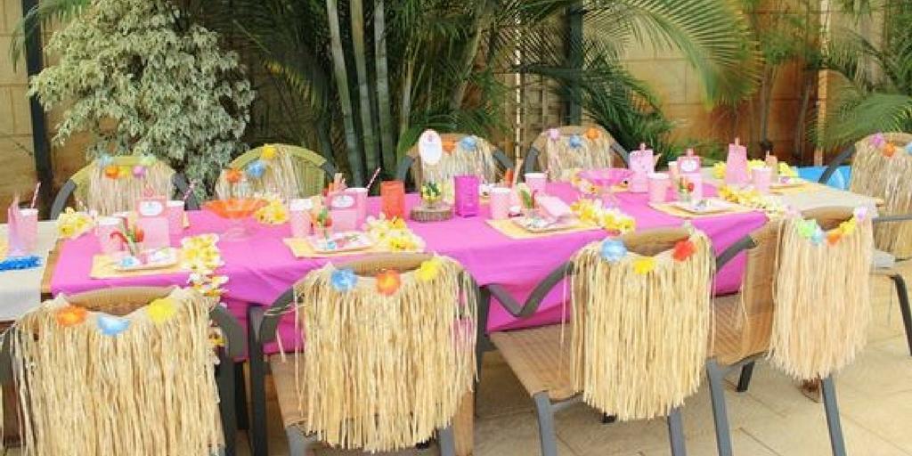 garden party Hawaiian luau theme