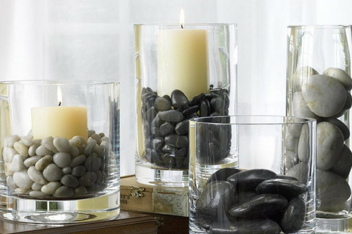hygge decorative rocks in glass jars