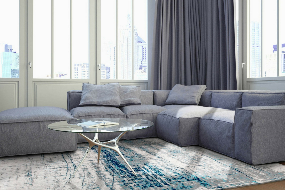 hygge minimal living room with blue rug from the rug seller