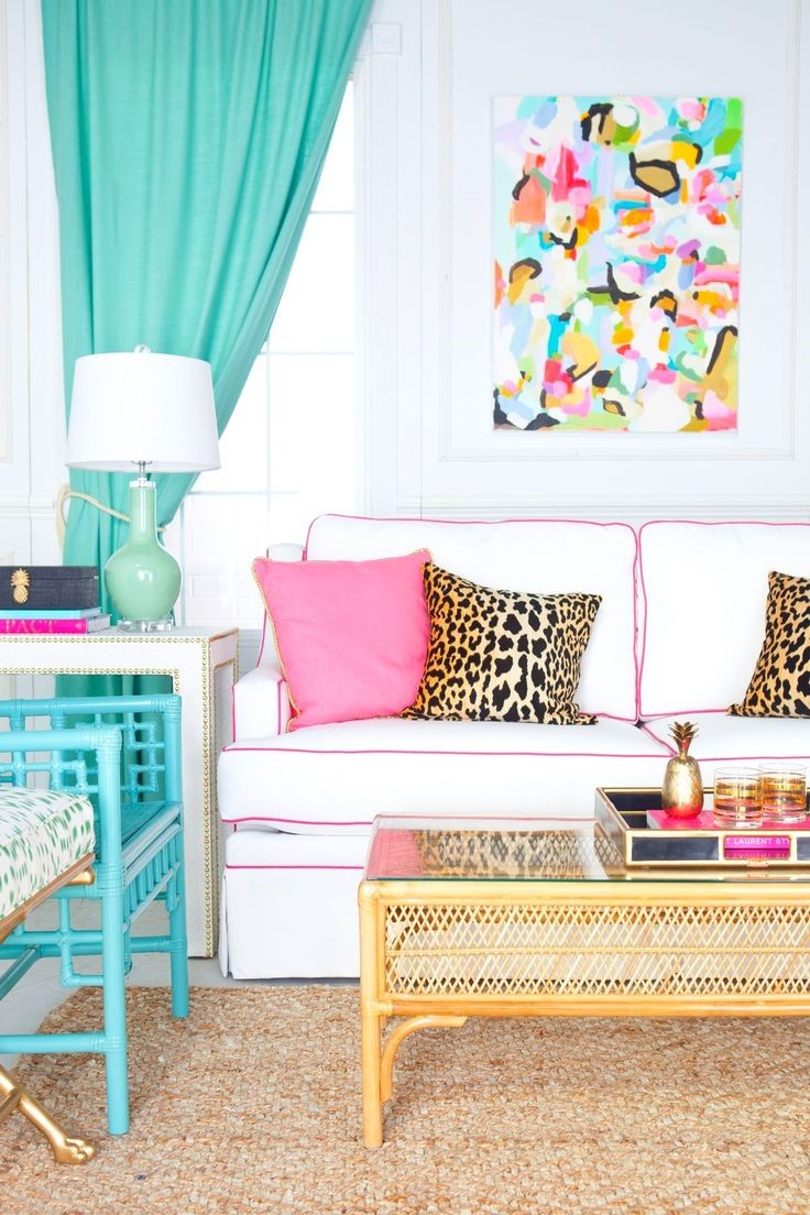 a brightly coloured room with multiple summer inspired home decor accessories