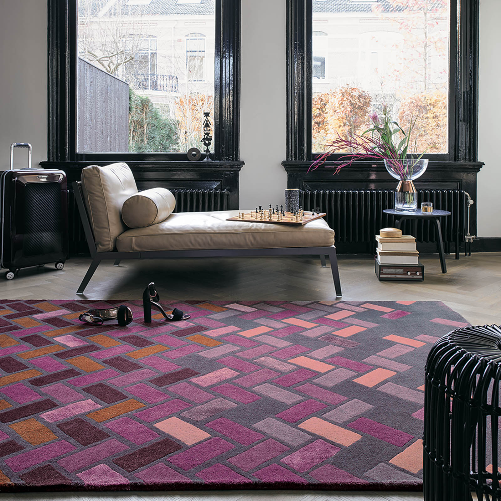 deep purple ted baker rug in a contemporary room