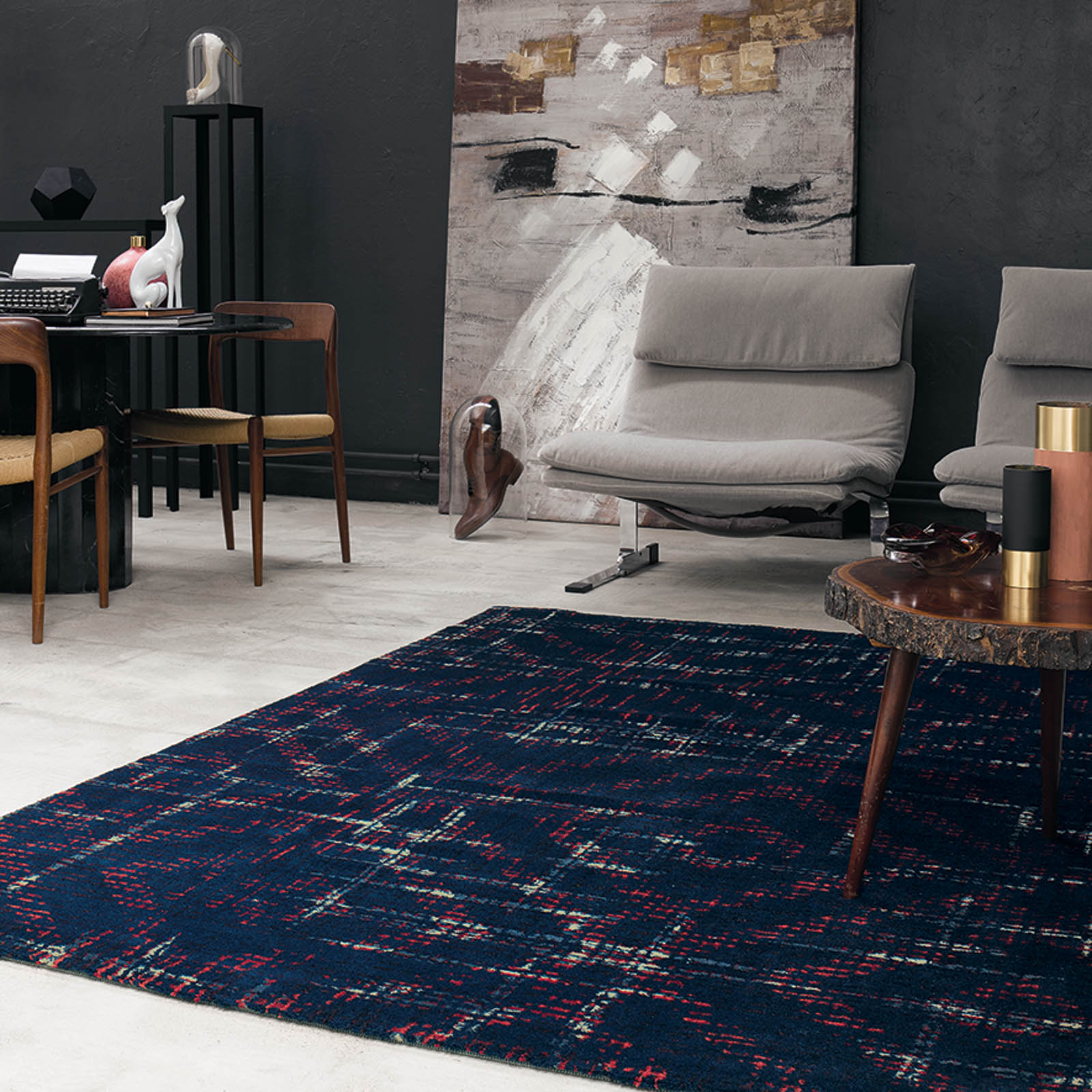 bloome rugs in deep blue by ted baker