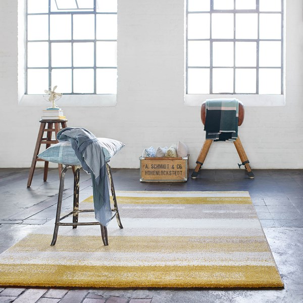 Dreaming rug 3247 075 by esprit in mustard and taupe