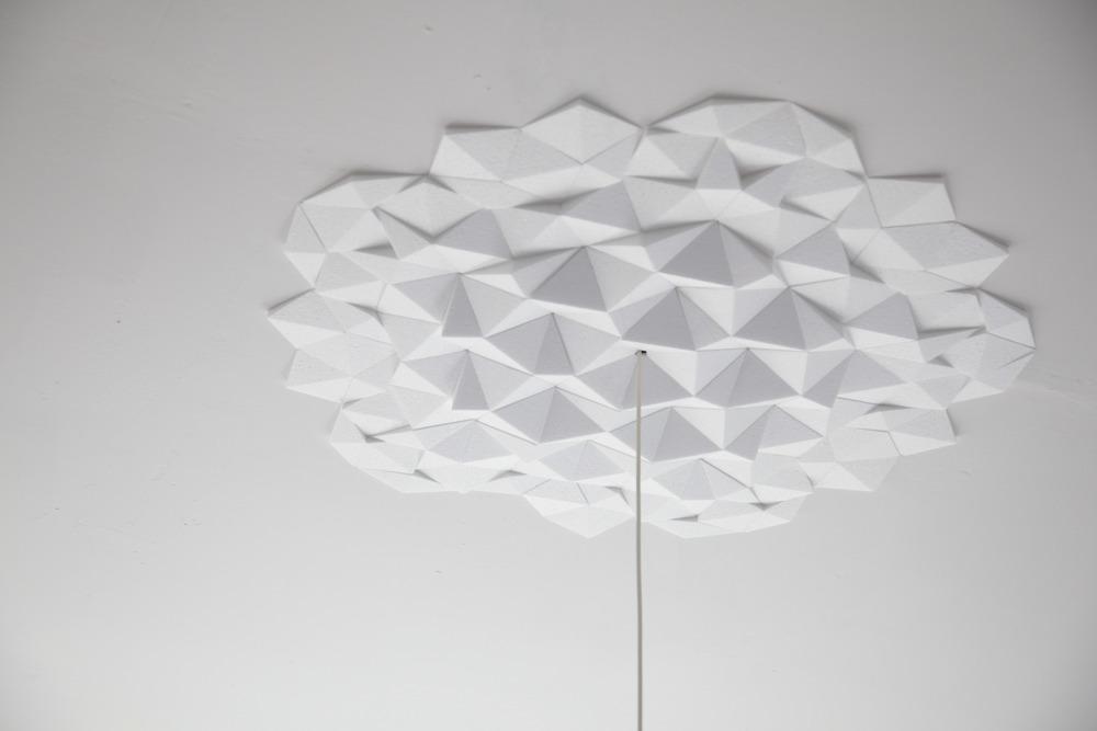 white rhombus ceiling tile on a white ceiling