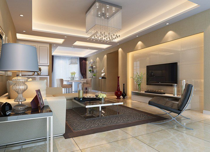 living room featuring lit ceiling