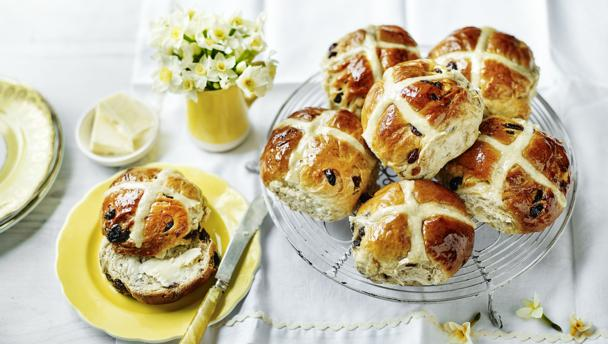 image of Hot Cross Buns on wooden table