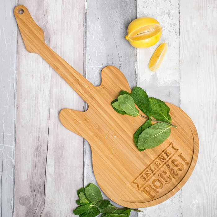 personalised guitar chopping board father's day chopping board