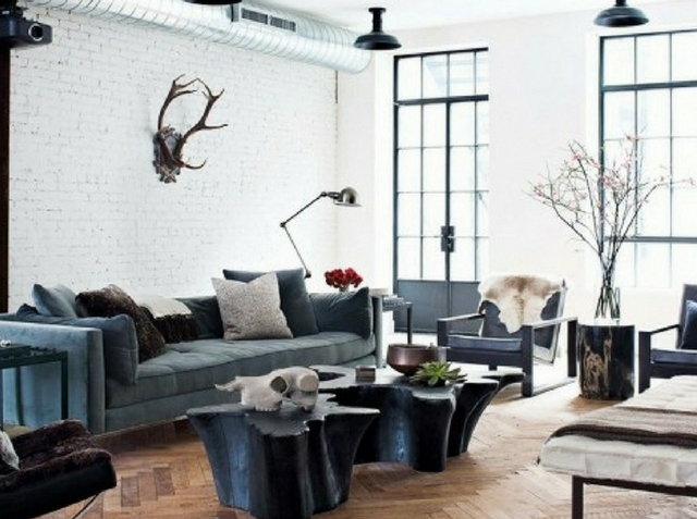 open plan space loft like living room with mismatched furniture