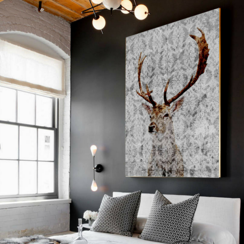 games of thrones style bedroom with a stag motif painting
