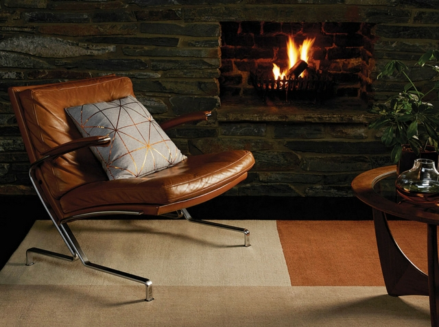 fireplace and a copper rug in a loft like interior
