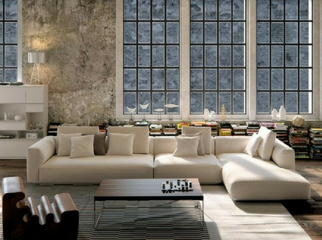 large windows in a loft-like interior