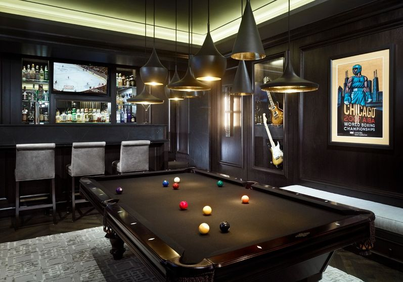 Black pool table man cave