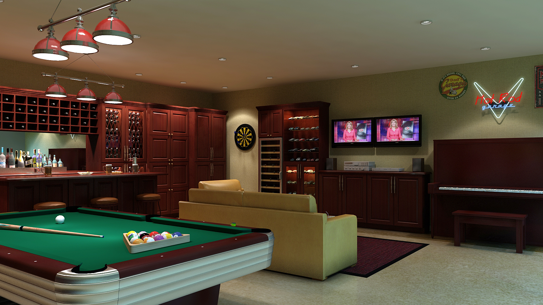 man cave with pool table in it