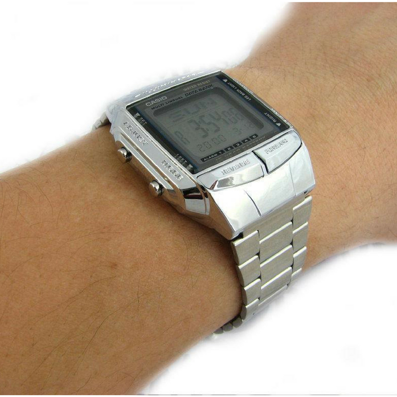 silver casio wrist watch