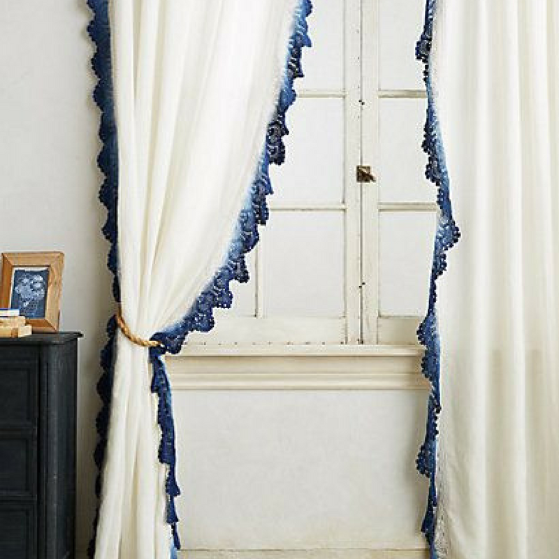 white lace curtain in did dyed blue