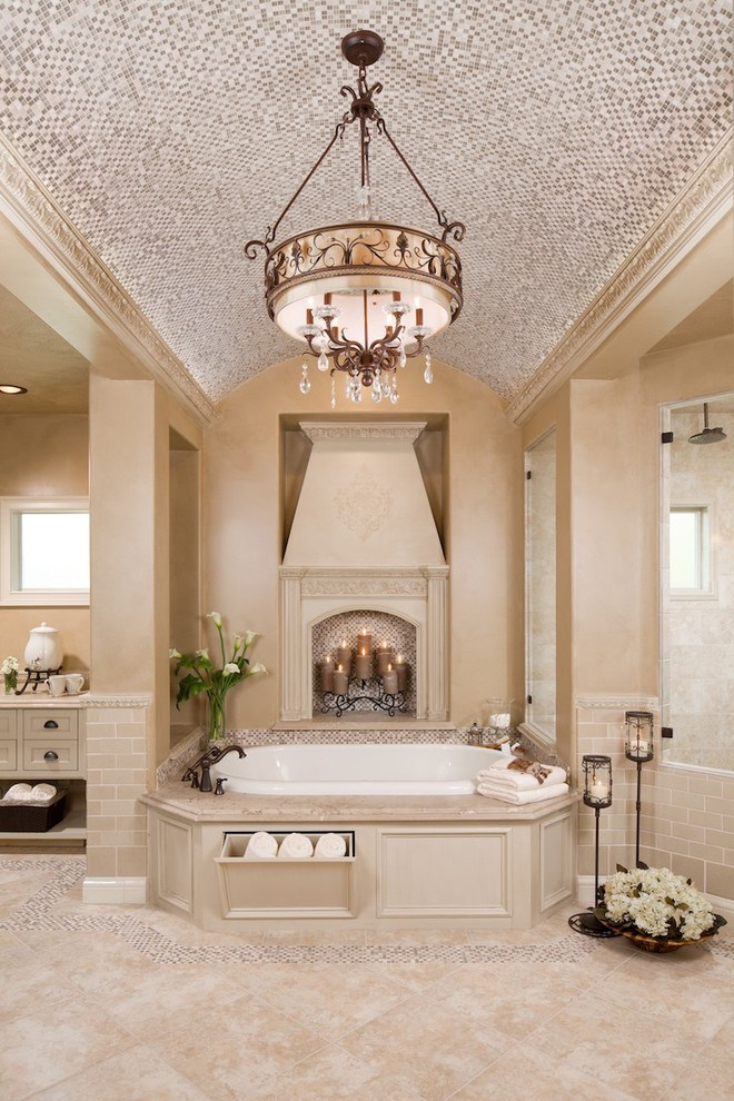 mosaic ceiling in a modern bathroom